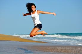 healthy woman jumping